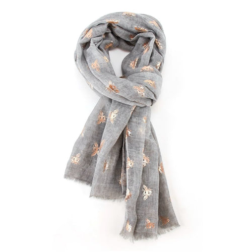 Rose Gold Bee Scarf - Grey - Derbyshire Gift Centre