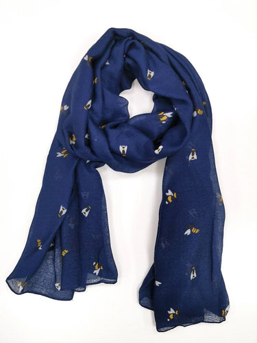 Busy Bee Print Scarf - Navy - Derbyshire Gift Centre