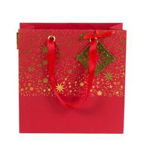 Red & Gold Star Square Gift Bag