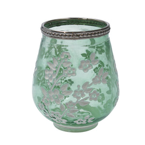 Gisela Graham Glass Tealight Holder - Green - Derbyshire Gift Centre