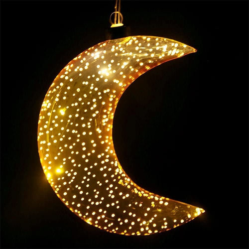 Metallic Glass Gold LED Moon Light - Derbyshire Gift Centre