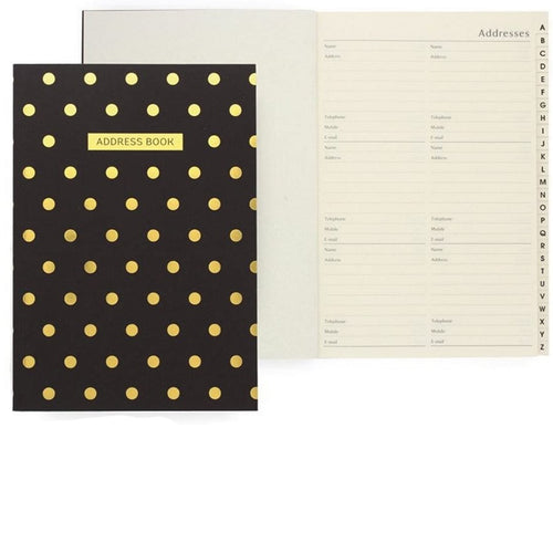 Shimmer Polka Dot Address Book - Derbyshire Gift Centre