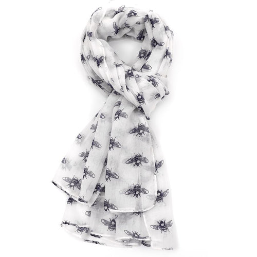 Repeat Bee Print Scarf - White - Derbyshire Gift Centre