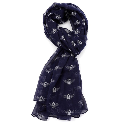 Repeat Bee Print Scarf - Navy - Derbyshire Gift Centre