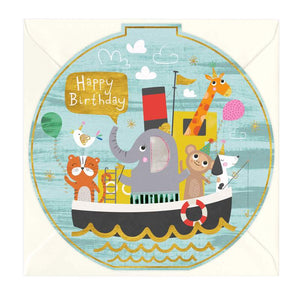Birthday Friends Boat Round Birthday Card