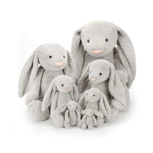 Jellycat Bashful Bunny - Silver, various sizes - Derbyshire Gift Centre