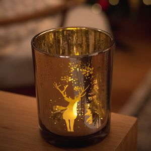 Snowflake & Stag Candle Holder
