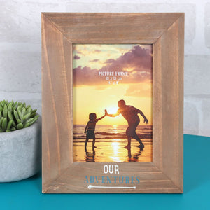 Wooden Photo Frame - Our Adventures - Derbyshire Gift Centre