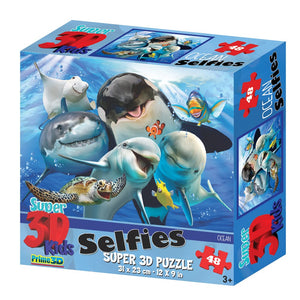 Super Ocean 3D Effect Selfies Puzzle - 48 Pieces