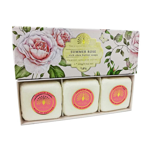 English Soap Company - Summer Rose Gift Wrapped Soaps - Derbyshire Gift Centre