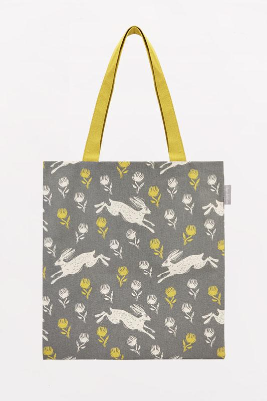 Sam Wilson Running Hare Canvas Tote - Yellow & Grey - Derbyshire Gift Centre