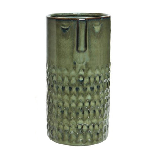 Long Ceramic Face Vase - Green - Derbyshire Gift Centre