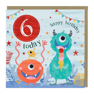6 Today Monster Birthday Card