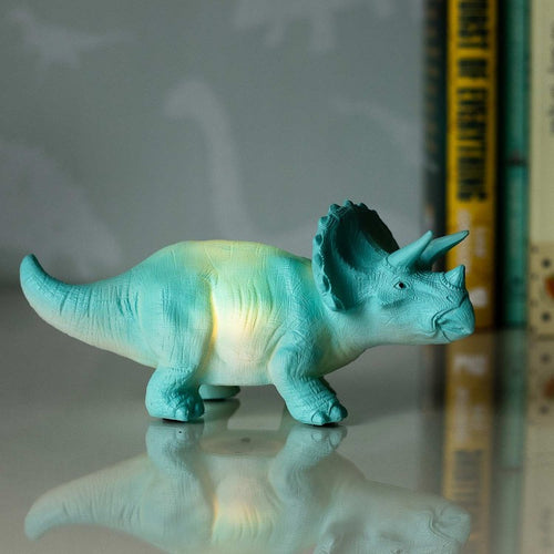 Turquoise Triceratops Mini LED Lamp - Derbyshire Gift Centre
