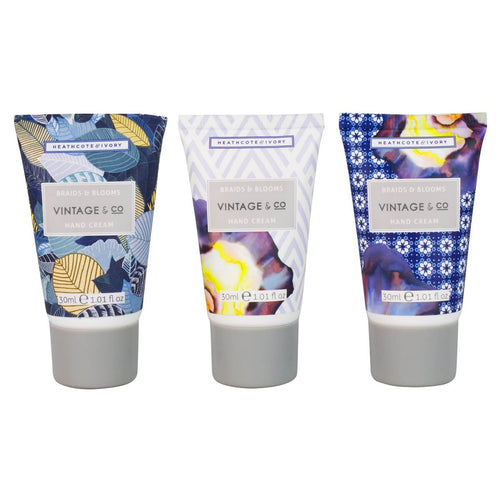Vintage & Co. 'Braids & Blooms' - Mini Hand Cream Trio - Derbyshire Gift Centre