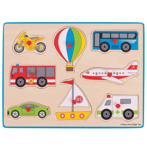 Bigjigs Wooden Lift Out Puzzle - Transport