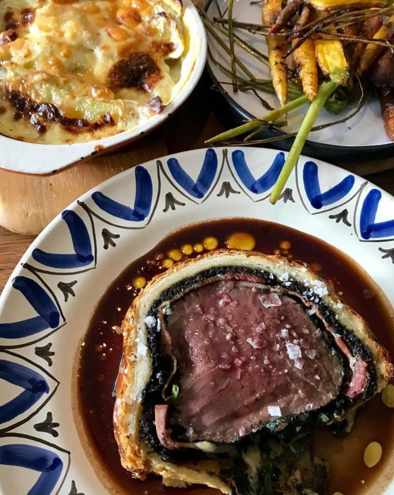 General Store & Cafe Berrima: Beef Wellington with Potato Puree served with Cauliflower Gratin & Roasted Veggies - Serves 2
