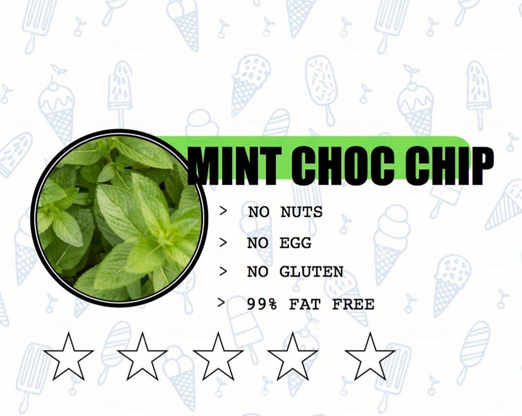 Sweet Retreat Gelato: Mint Choc Chip - no gluten, eggs or nuts and 95% fat free - 500gr tub