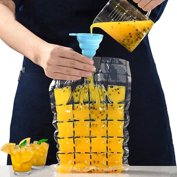 Orapink 40 Pieces Disposable Ice Cube Bags with Folding Funnel Self-Seal Ice Cube Maker Mold Bags for Drink,Juice,Cocktail,Whiskey(960 Ice Cubes)