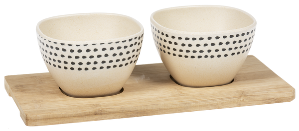 Dipping Bowls - Set of two and tray - bamboo
