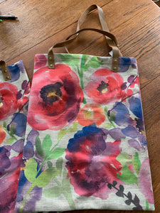 Tote Bag with Leather Handles - Mixed Floral