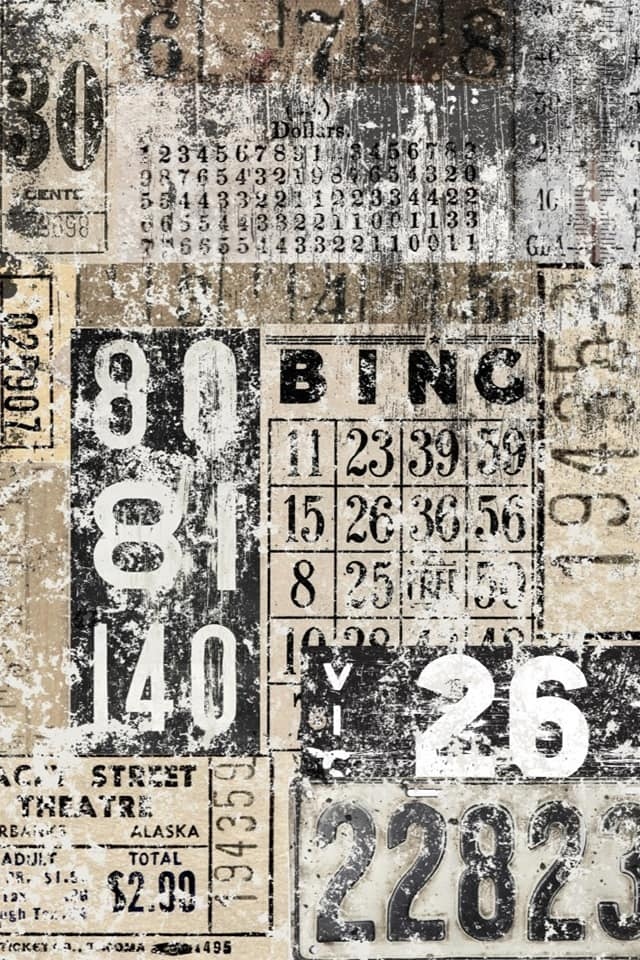 Decoupage Papers - Grunge Numbers