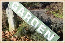 Load image into Gallery viewer, Enamel Letter Garden Sign on Wood