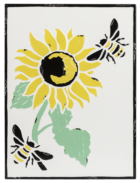 Enamel Sunflower and Bee - Wall Decor
