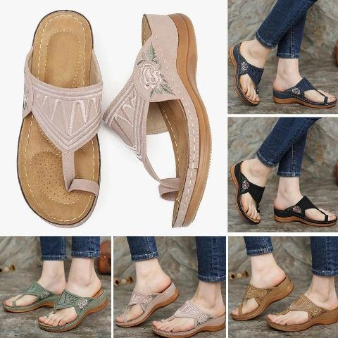 Embroidery Comfy Wedges Sandals【$10 OFF WHEN YOU SPEND $100 (INPUT CODE: D10)】