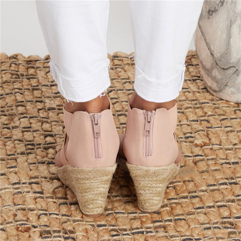 2020 summer round toe high heel wedge casual ladies sandals【$10 off when you spend $100 (Input code: D10)】