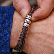 Father's Day gift! Men Braided Leather Bracelet with Small Custom Beads