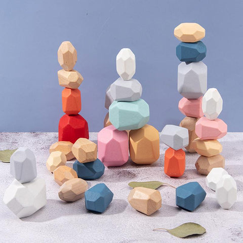 【Last Day 40% OFF】Wood Rock Set Balancing Blocks Natural Wood Toy