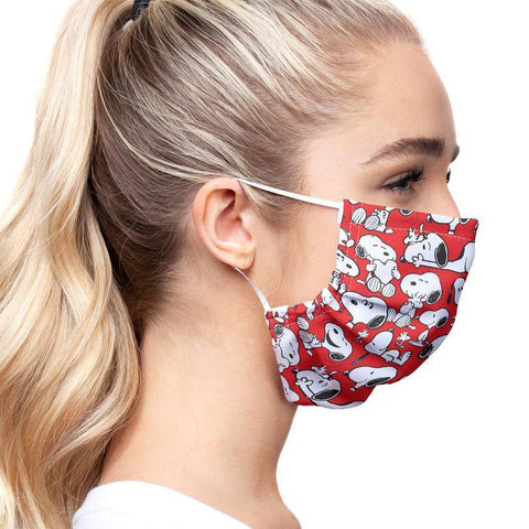 Peanuts Rockin' Red Snoopy and Woodstock Pattern Face Mask