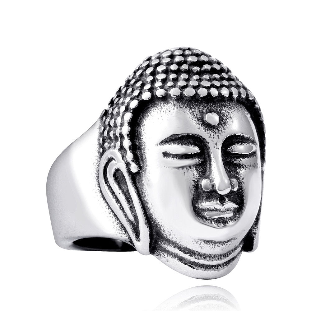 Men's Titanium Steel Buddhism Shakyamuni Buddha Head Ring