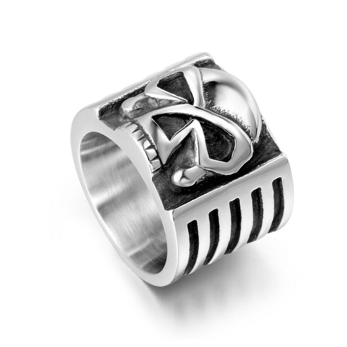 Unique men's skull wide stainless steel ring