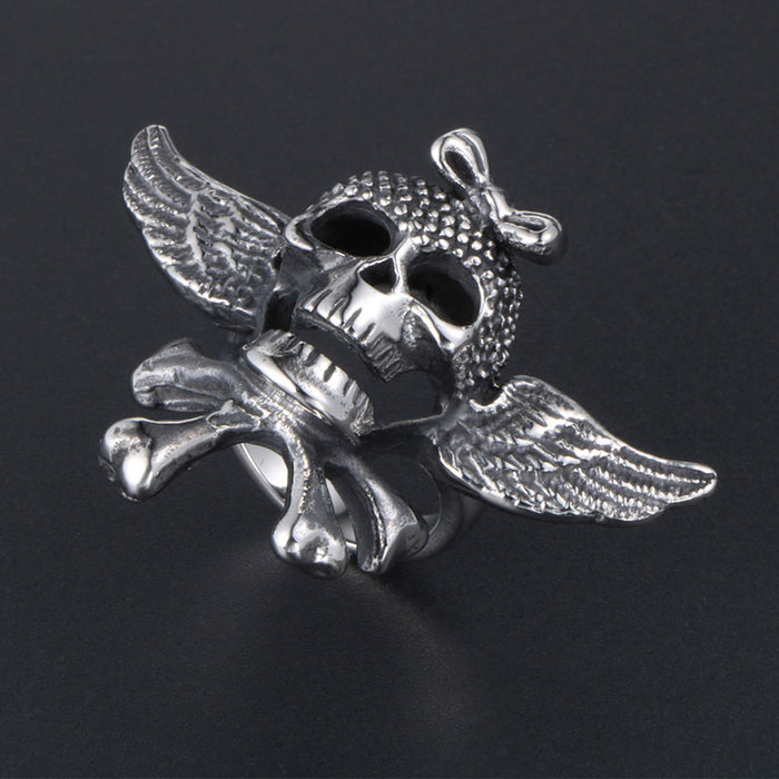 Retro punk angel wing skull ring - cross character