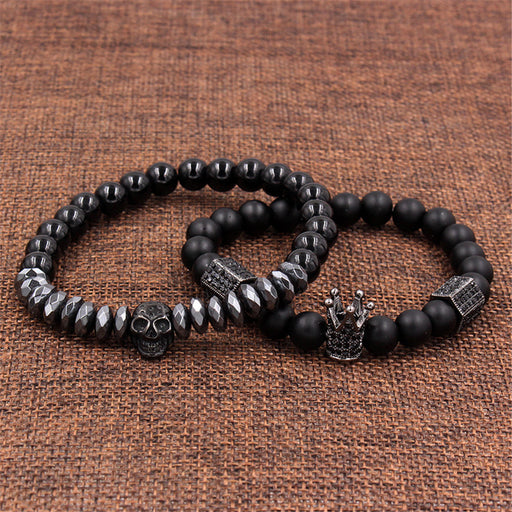 Diamond black abrasive stone skull hexagon crown bracelet