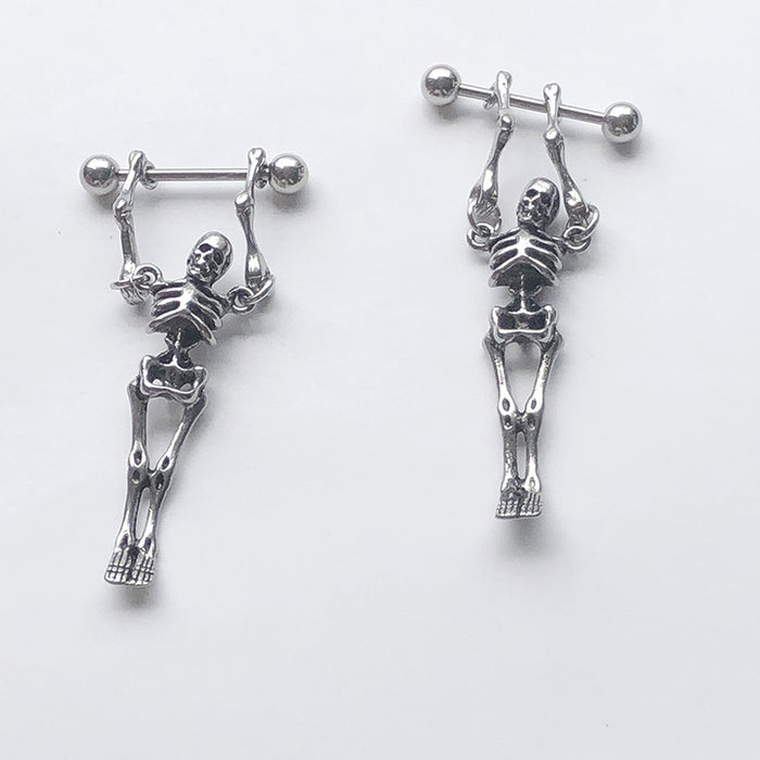 Punk street barbell skull earrings