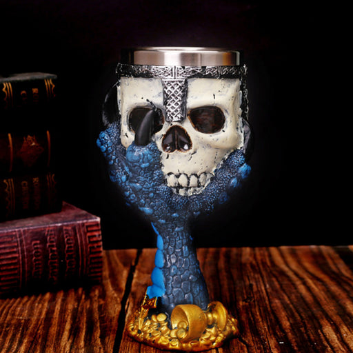 3D skull cup resin double-layer stainless steel goblet