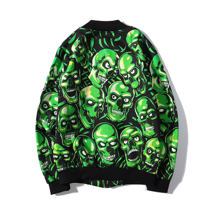 Skull lovers baseball uniform hip hop collar jacket