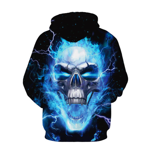 Skull digital print plus size matching hoodie