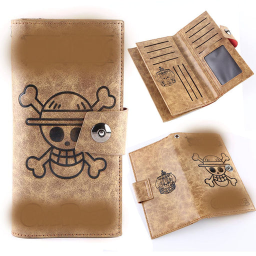 Skull pu leather multi-card wallet with magnetic buckle