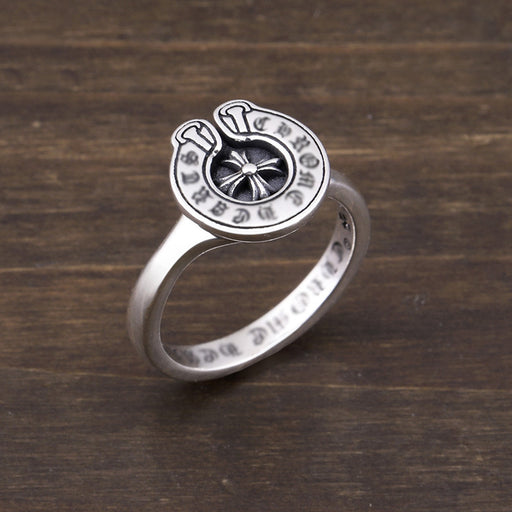 Letter Horseshoe 925 Sterling Silver Cross Medal Ring