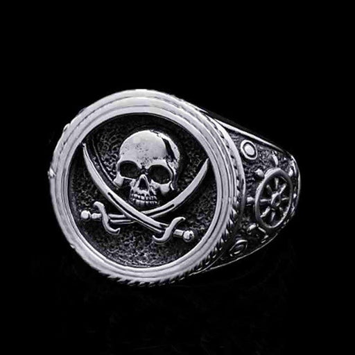 Skull head biker pirate man double colored ring