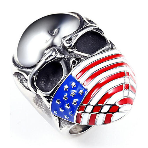 Retro American flag, stars and stripes, face mask, skull men's biker ring