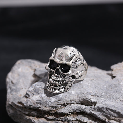 Men's retro rock biker crack skull ring