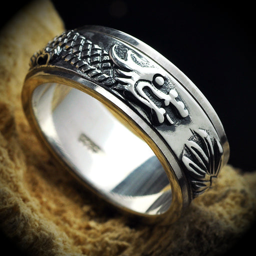 Men's personality silver ring can turn wide dragon ring