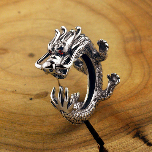 Retro 3d dragon men's 'sliver open ring