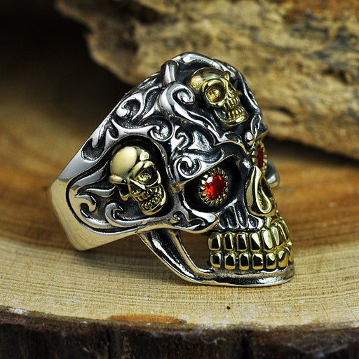 Punk biker Thai silver men's 'skull ring