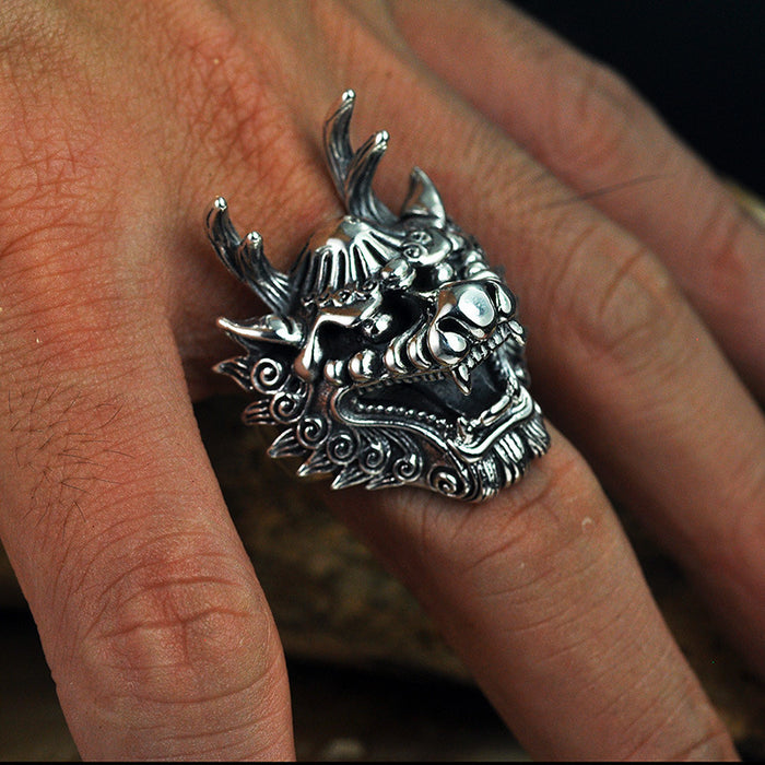 Retro men's personality domineering dragon sliver ring